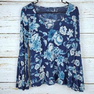 Lucky Brand Blue Floral Print Top